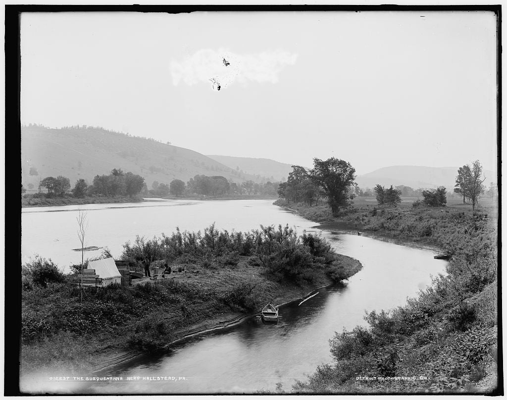 16 x 20 Gallery Wrapped Frame Art Canvas Print of The Susquehanna near Hallstead Pa  1896 Detriot Publishing co.  92a