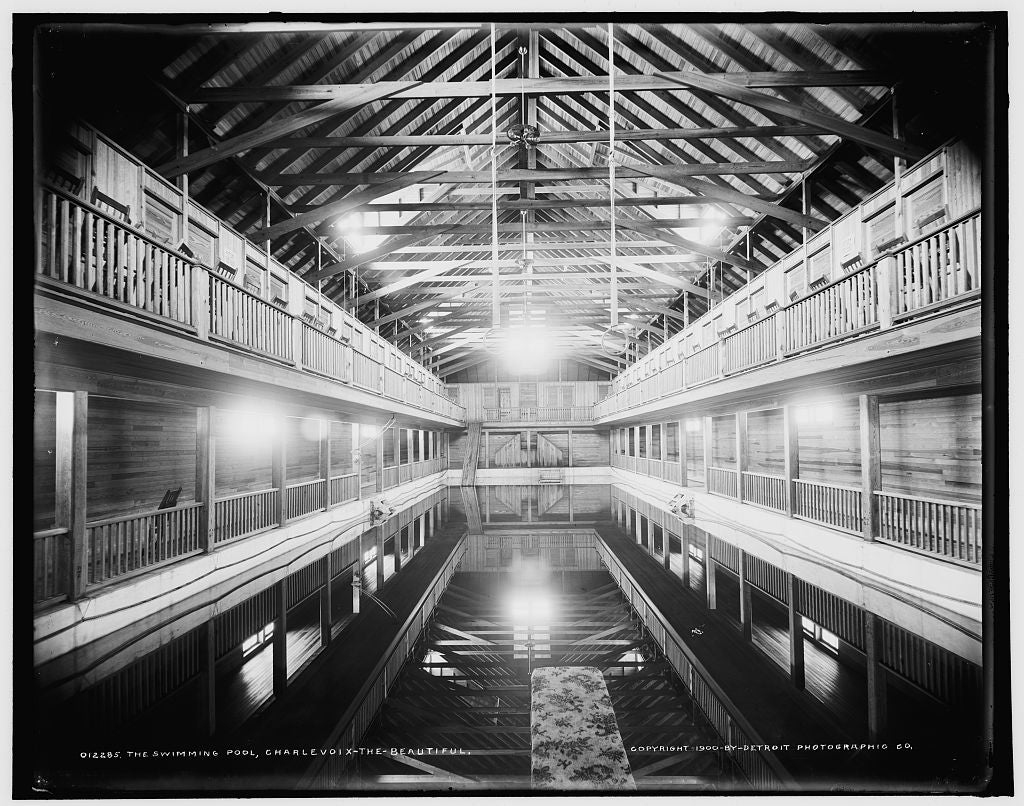 16 x 20 Gallery Wrapped Frame Art Canvas Print of The Swimming pool Charlevoix-the-Beautiful 1902 Detriot Publishing co.  76a