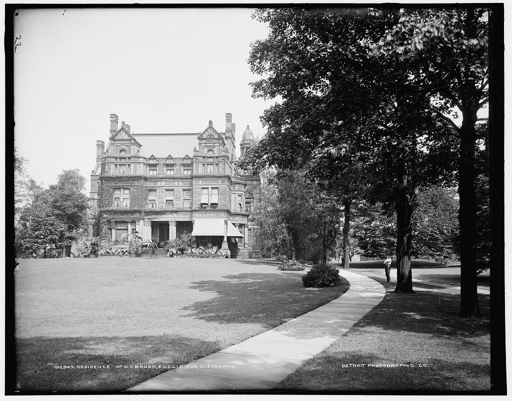 16 x 20 Gallery Wrapped Frame Art Canvas Print of Residence of C F Brush Euclid Ave Cleveland 1900 Detriot Publishing co.  69a