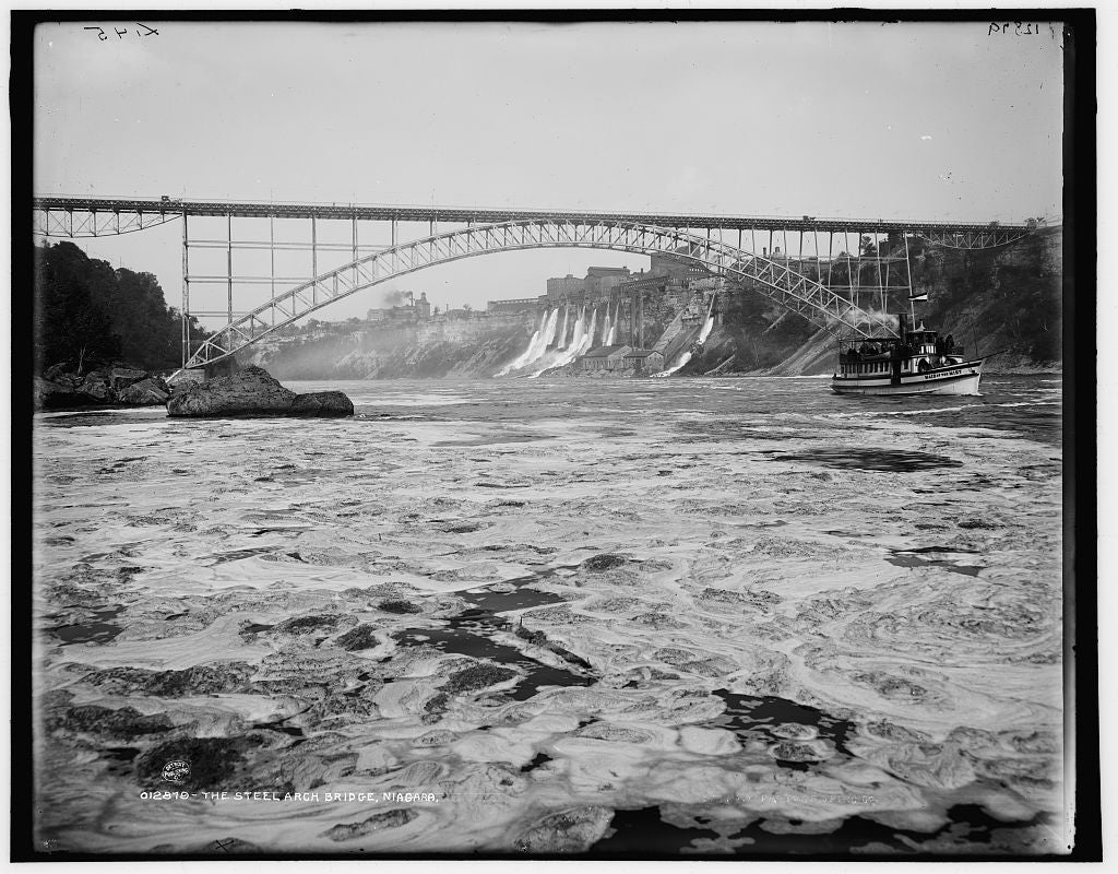 16 x 20 Gallery Wrapped Frame Art Canvas Print of The Upper Steel Arch Bridge Niagara 1903 Detriot Publishing co.  89a