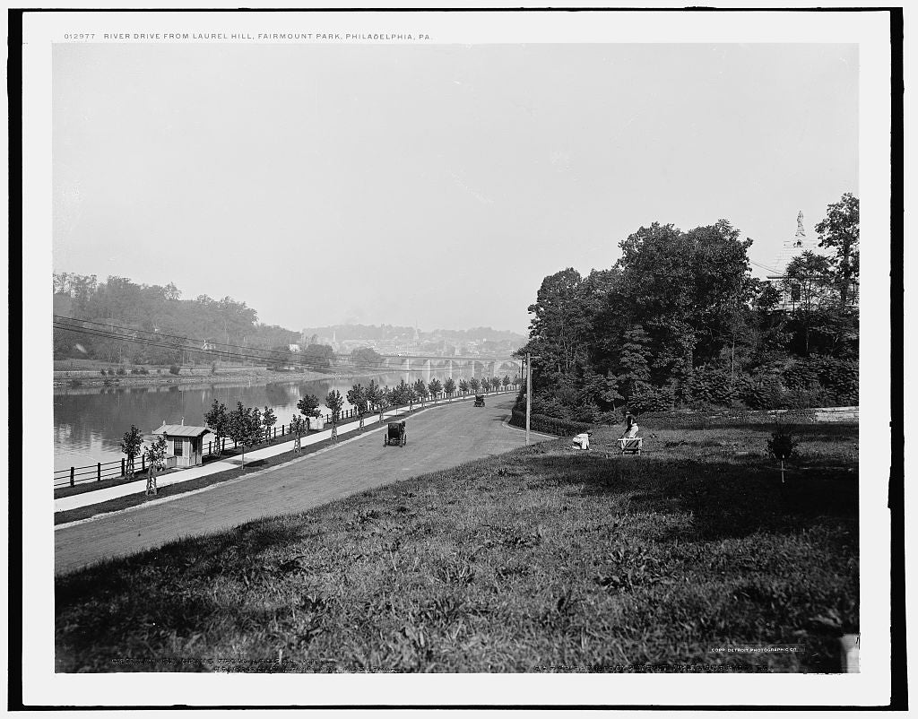 16 x 20 Gallery Wrapped Frame Art Canvas Print of River Drive from Laurel Hill Fairmount Park Philadelphia Pa  1900 Detriot Publishing co.  86a
