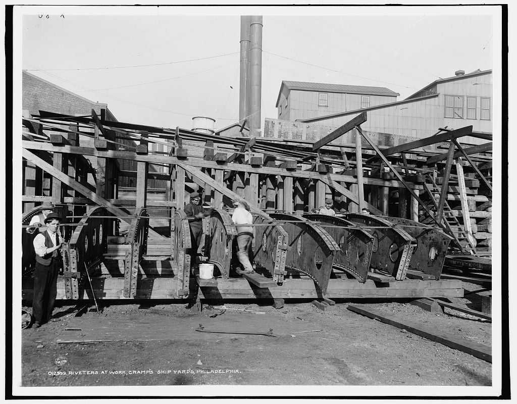 16 x 20 Gallery Wrapped Frame Art Canvas Print of Riveters at work Cramp's ship yards Philadelphia 1900 Detriot Publishing co.  61a