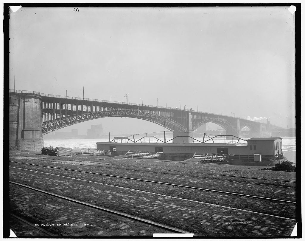 16 x 20 Gallery Wrapped Frame Art Canvas Print of Eads Bridge St Louis Mo  1901 Detriot Publishing co.  55a
