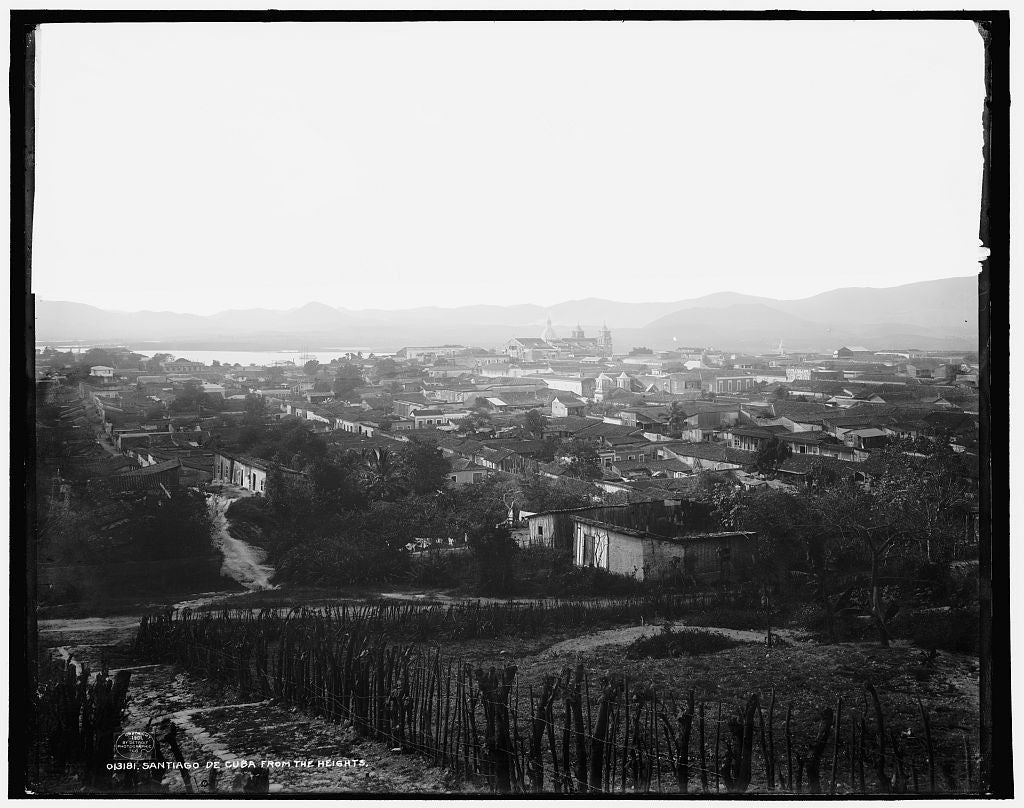 16 x 20 Gallery Wrapped Frame Art Canvas Print of Santiago de Cuba from the heights 1901 Detriot Publishing co.  55a