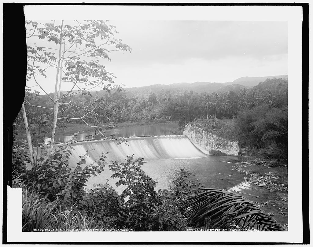 16 x 20 Gallery Wrapped Frame Art Canvas Print of Falls of the Rio Cobre near Spanish Town Jamaica W I  1901 Detriot Publishing co.  94a