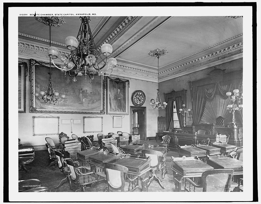 16 x 20 Gallery Wrapped Frame Art Canvas Print of Senate Chamber state capitol Annapolis Md  1900 Detriot Publishing co.  29a