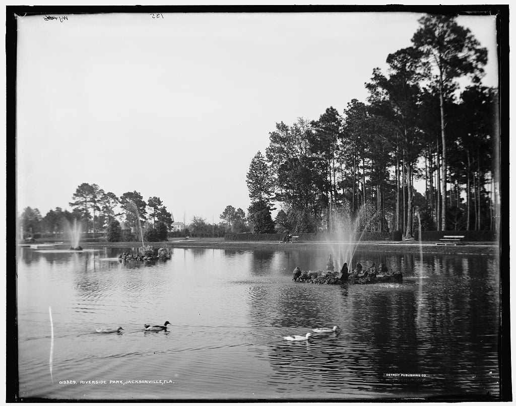 16 x 20 Gallery Wrapped Frame Art Canvas Print of Riverside Park Jacksonville Fla  1900 Detriot Publishing co.  88a