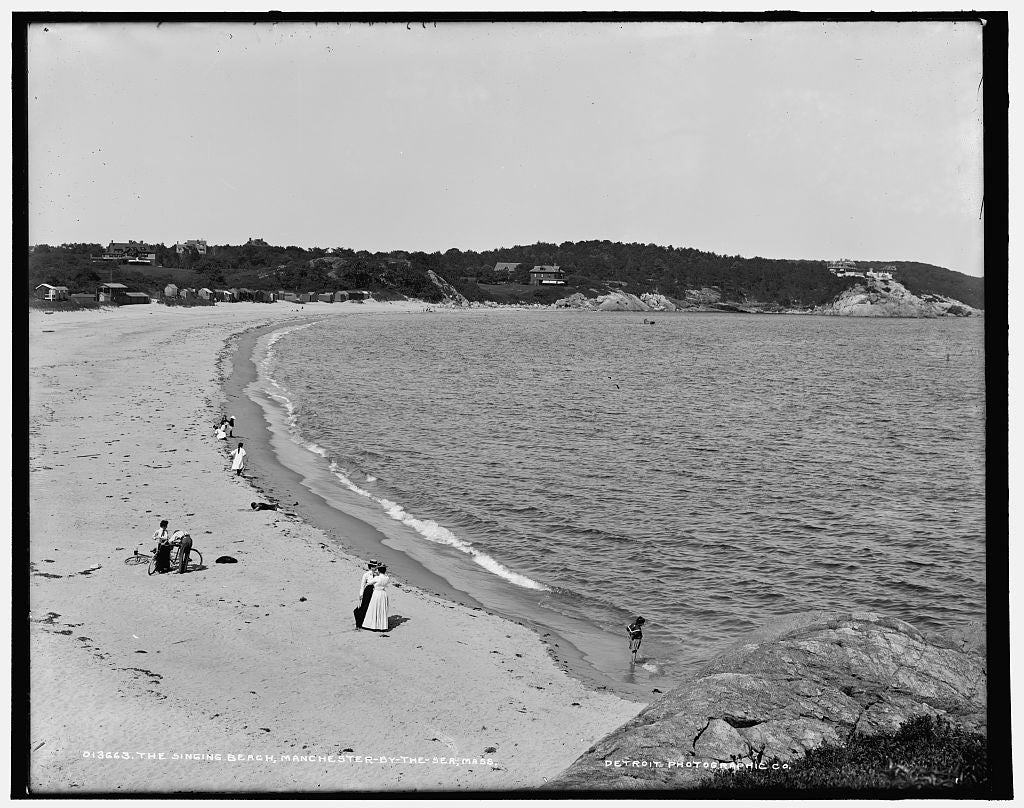 16 x 20 Gallery Wrapped Frame Art Canvas Print of The Singing beach Manchester-by-the-Sea Mass  1900 Detriot Publishing co.  70a