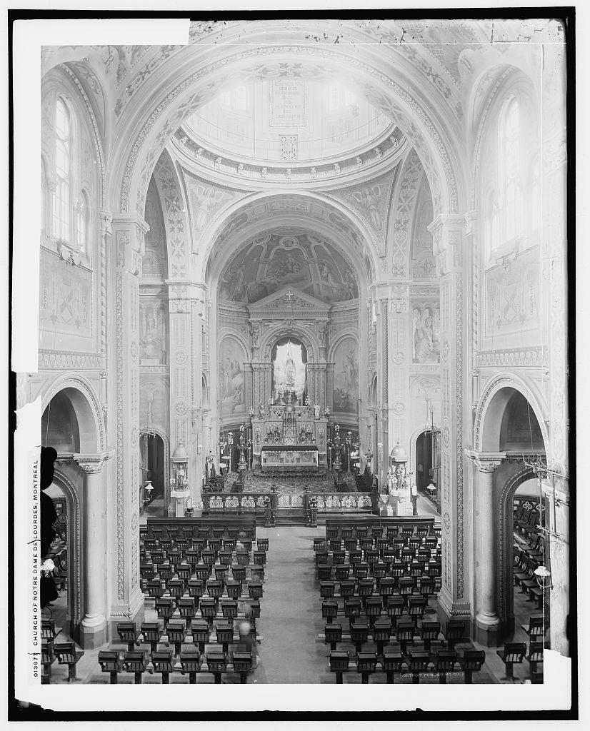 16 x 20 Gallery Wrapped Frame Art Canvas Print of Church of Notre Dame de Lourdes Montreal 1900 Detriot Publishing co.  61a