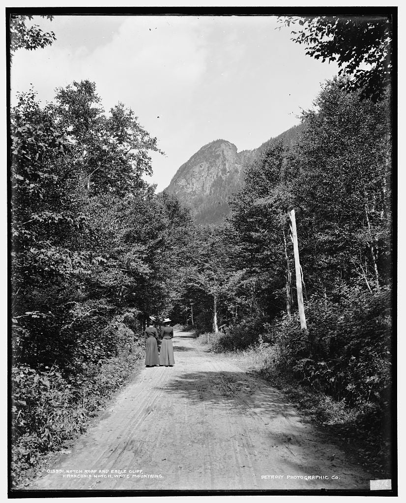 16 x 20 Gallery Wrapped Frame Art Canvas Print of Notch road and Eagle Cliff Franconia Notch White Mountains 1900 Detriot Publishing co.  14a