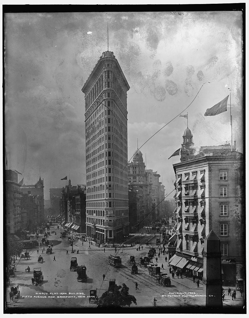 16 x 20 Gallery Wrapped Frame Art Canvas Print of Flat-Iron i e Flatiron Building Fifth Avenue and Broadway New York 1902 Detriot Publishing co.  63a