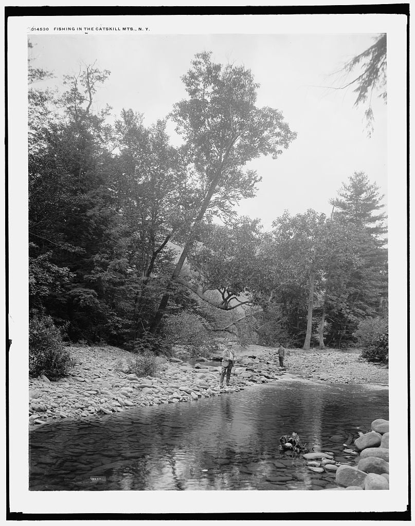 16 x 20 Gallery Wrapped Frame Art Canvas Print of Fishing in the Catskill Mts N Y  1902 Detriot Publishing co.  09a