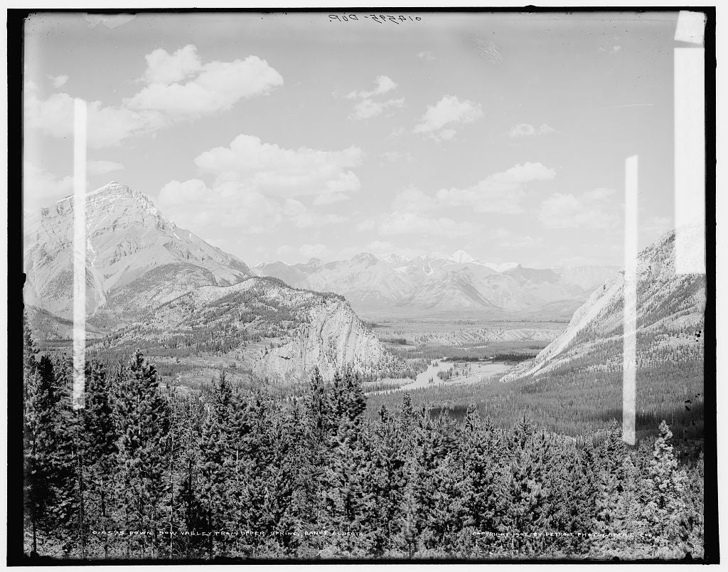 16 x 20 Gallery Wrapped Frame Art Canvas Print of Down Bow Valley from upper spring Banff Alberta 1902 Detriot Publishing co.  82a