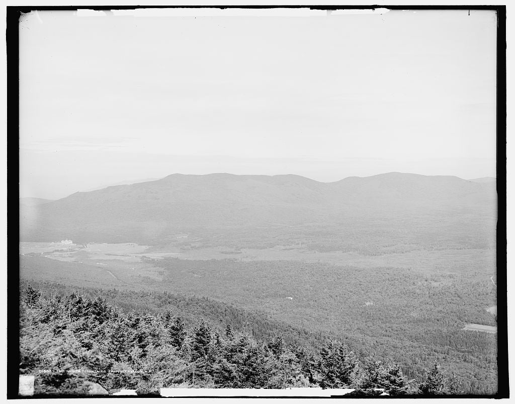16 x 20 Gallery Wrapped Frame Art Canvas Print of The White Mountains from Mt Avalon N H  1906 Detriot Publishing co.  10a
