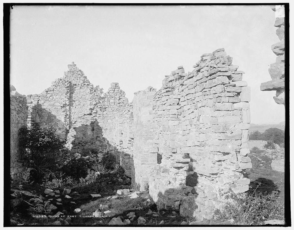 16 x 20 Gallery Wrapped Frame Art Canvas Print of Ruins of Fort Ticonderoga N Y  1902 Detriot Publishing co.  06a