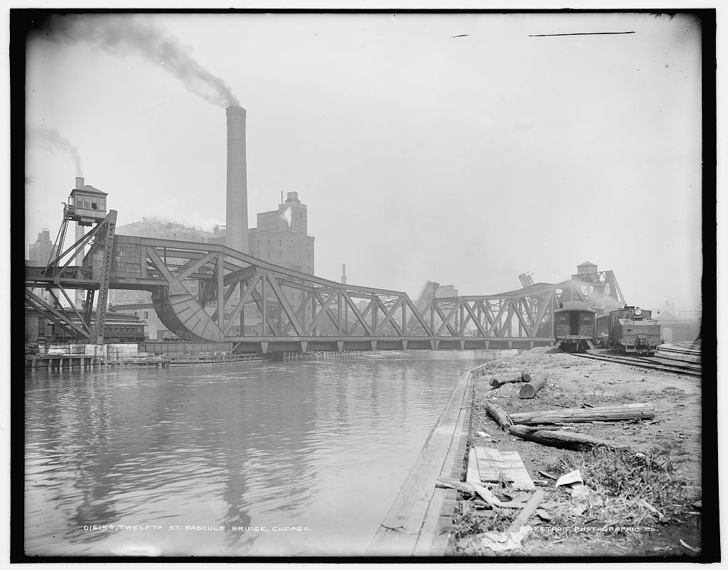 16 x 20 Gallery Wrapped Frame Art Canvas Print of Twelfth St Bascule Bridge Chicago 1903 Detriot Publishing co.  19a