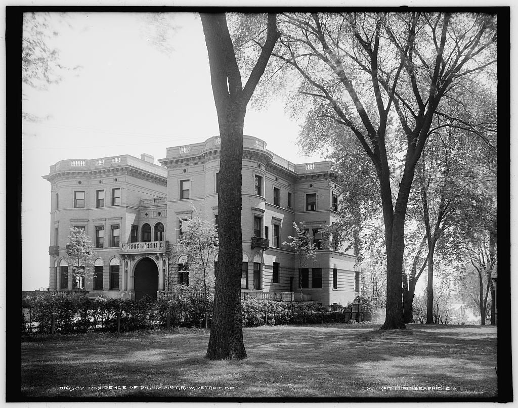 16 x 20 Gallery Wrapped Frame Art Canvas Print of Residence of Dr T A McGraw Detroit Mich  1903 Detriot Publishing co.  72a