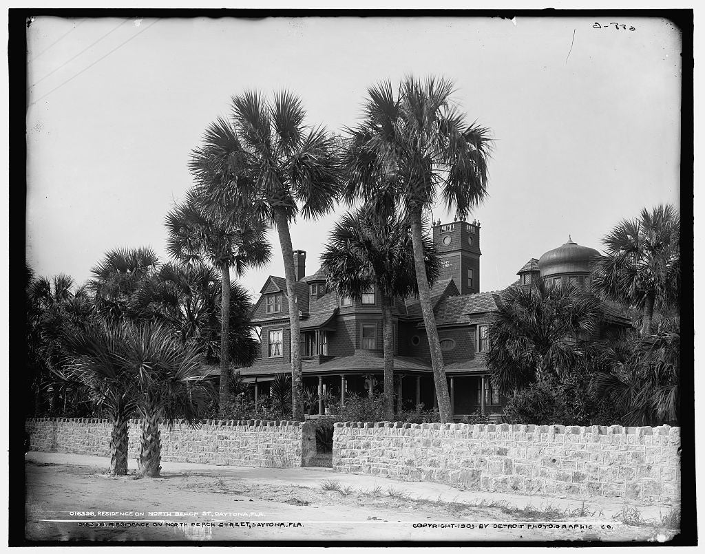16 x 20 Gallery Wrapped Frame Art Canvas Print of Residence on North Beach St Daytona Fla  1903 Detriot Publishing co.  63a