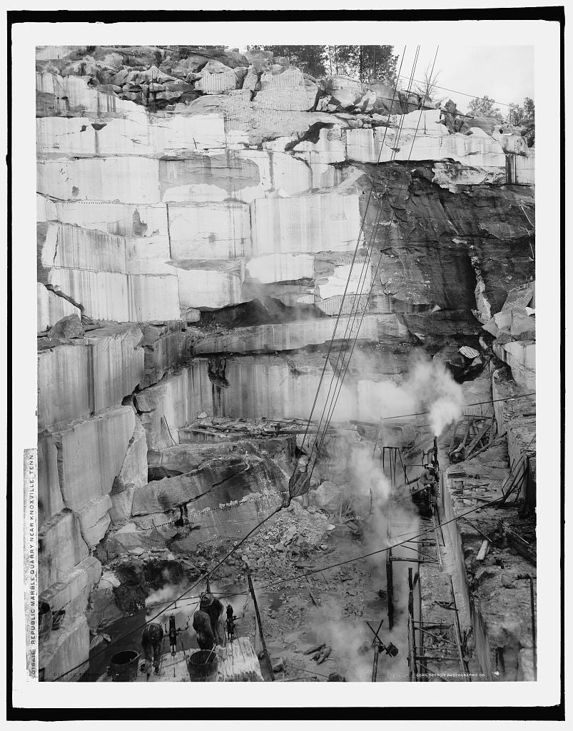 16 x 20 Gallery Wrapped Frame Art Canvas Print of Republic Marble Quarry near Knoxville Tenn  1903 Detriot Publishing co.  10a