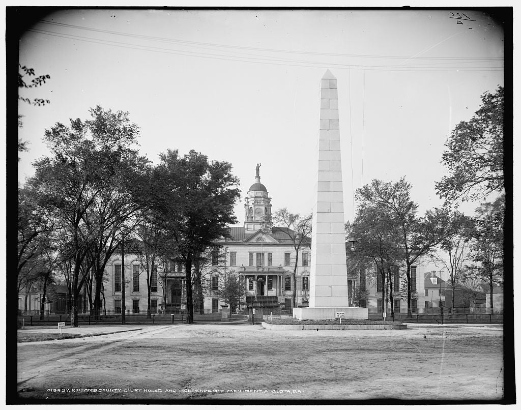 16 x 20 Gallery Wrapped Frame Art Canvas Print of Richmond County Court House and Independence Monument Augusta Ga  1903 Detriot Publishing co.  27a