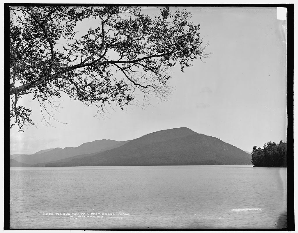 16 x 20 Gallery Wrapped Frame Art Canvas Print of Tongue Mountain from Green Island Lake George N Y  1904 Detriot Publishing co.  70a