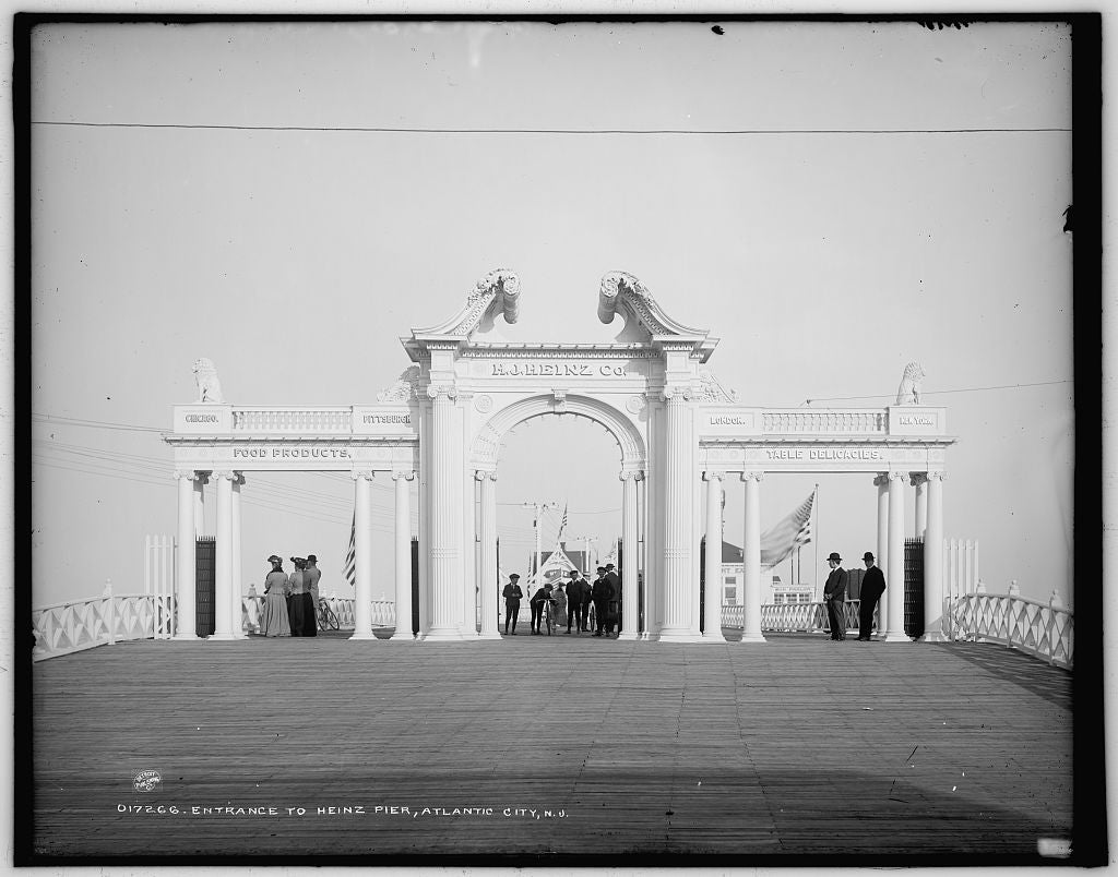 16 x 20 Gallery Wrapped Frame Art Canvas Print of Entrance to Heinz Pier Atlantic City N J  1903 Detriot Publishing co.  11a