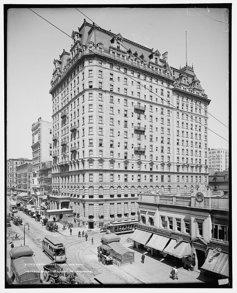 16 x 20 Gallery Wrapped Frame Art Canvas Print of Hotel Manhattan New York 1904 Detriot Publishing co.  65a