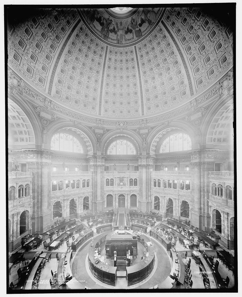 16 x 20 Gallery Wrapped Frame Art Canvas Print of Reading Room rotunda Library of Congress 1904 Detriot Publishing co.  93a