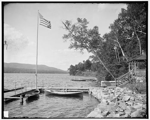 16 x 20 Gallery Wrapped Frame Art Canvas Print of  A Private dock Crosbyside Lake George N Y  1900 Detriot Publishing co.  98a