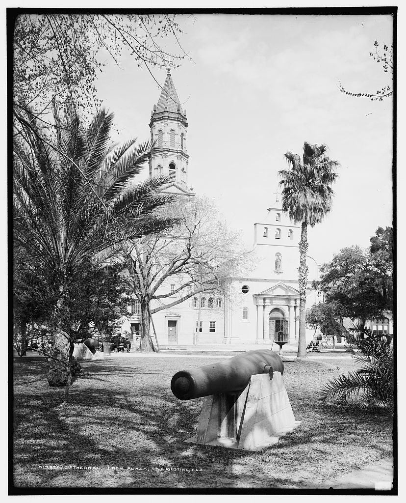 16 x 20 Gallery Wrapped Frame Art Canvas Print of Cathedral from plaza St Augustine Fla  1904 Detriot Publishing co.  94a