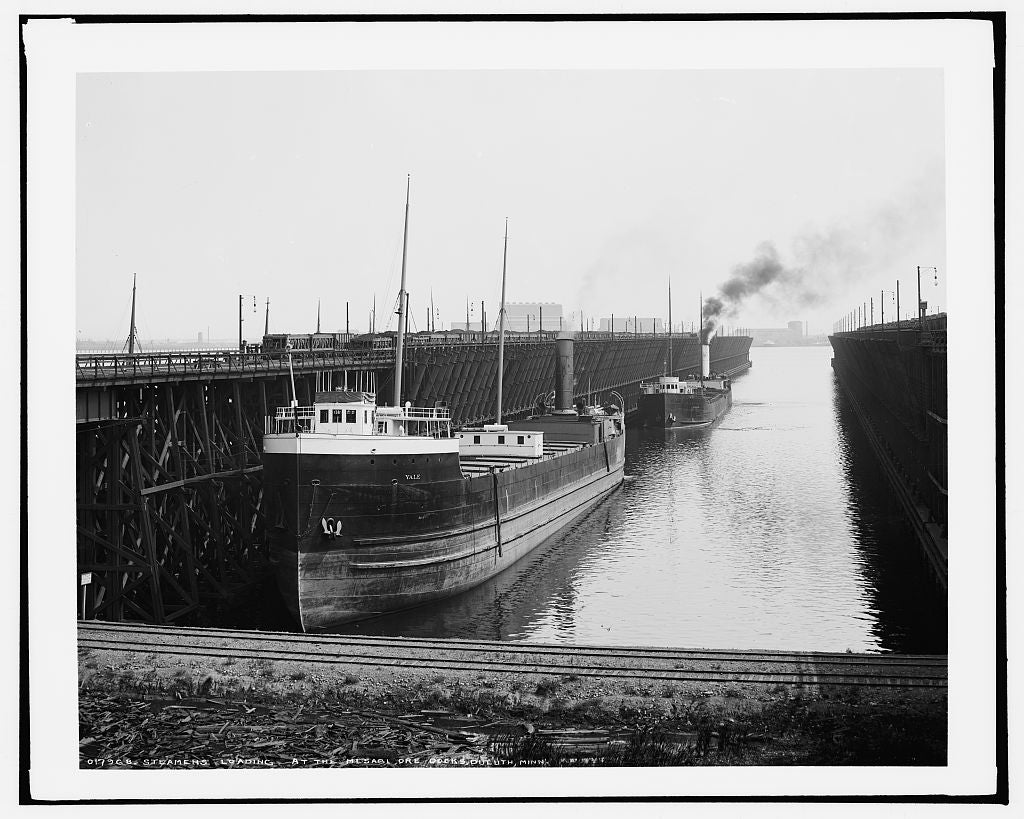 16 x 20 Gallery Wrapped Frame Art Canvas Print of Steamers loading at the Mesabi i e Missabe ore docks Duluth Minn  1904 Detriot Publishing co.  50a