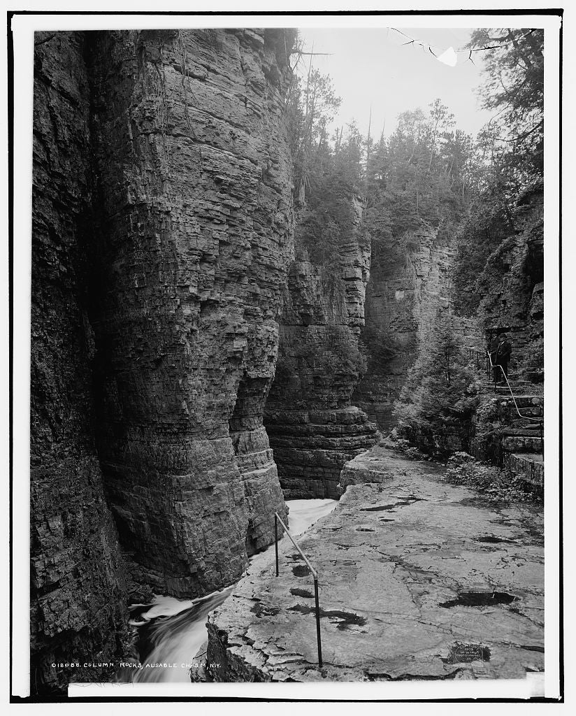 16 x 20 Gallery Wrapped Frame Art Canvas Print of Column rocks Ausable Chasm N Y  1905 Detriot Publishing co.  06a