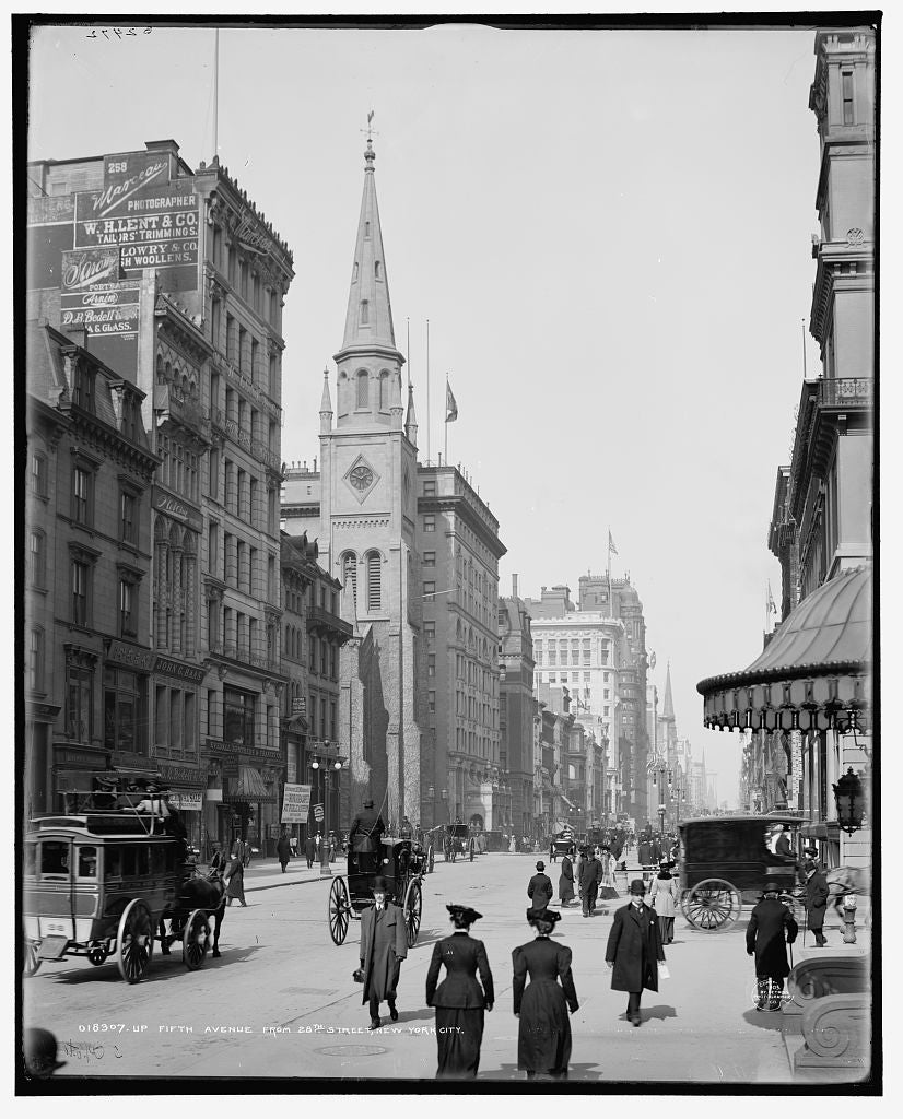 16 x 20 Gallery Wrapped Frame Art Canvas Print of Up Fifth Avenue from 28th Street New York N Y  1905 Detriot Publishing co.  35a