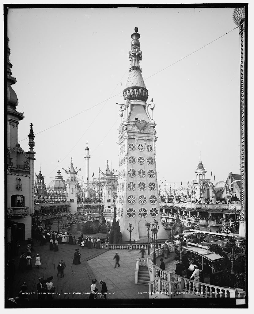 16 x 20 Gallery Wrapped Frame Art Canvas Print of Main tower Luna Park Coney Island N Y  1905 Detriot Publishing co.  80a