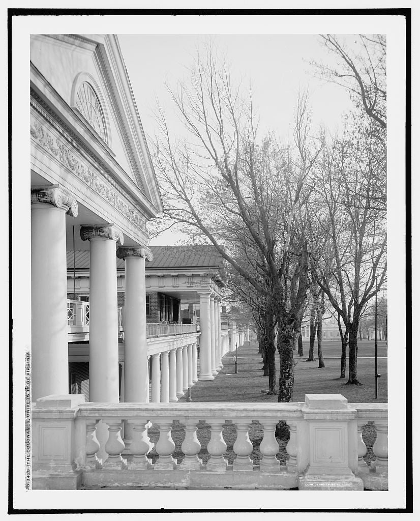 16 x 20 Gallery Wrapped Frame Art Canvas Print of The Colonades i e Colonnades University of Virginia 1905 Detriot Publishing co.  00a