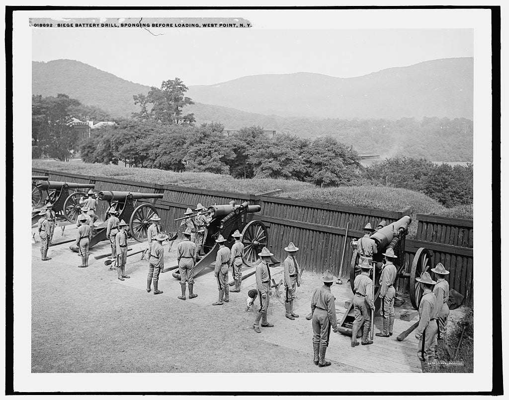 16 x 20 Gallery Wrapped Frame Art Canvas Print of Siege Battery drill sponging before loading United States Military Academy West Point N Y  1905 Detriot Publishing co.  97a