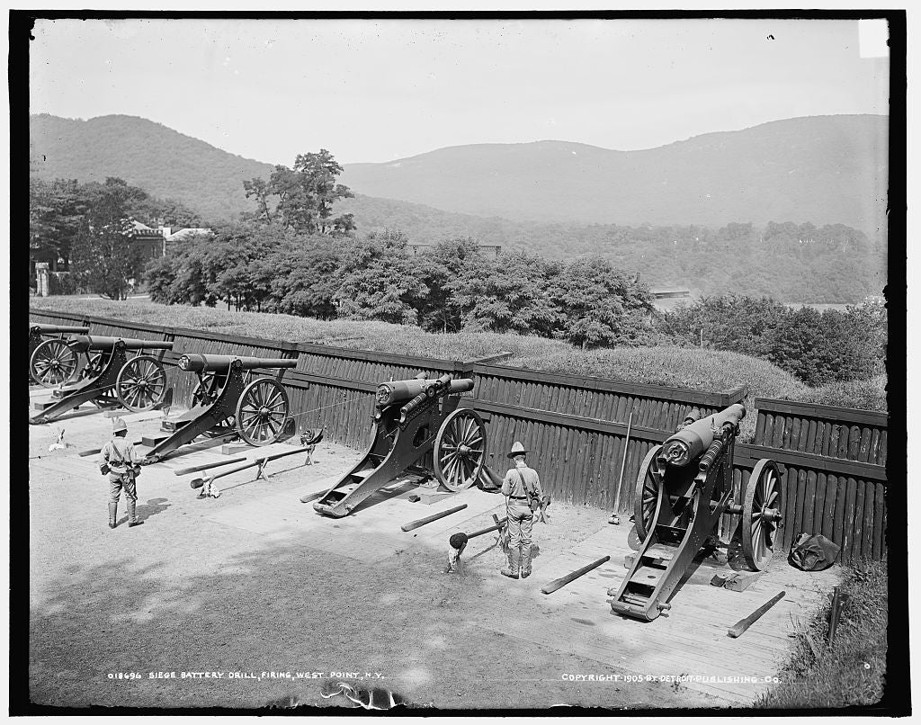 16 x 20 Gallery Wrapped Frame Art Canvas Print of Siege battery drill firing United States Military Academy West Point N Y  1905 Detriot Publishing co.  87a