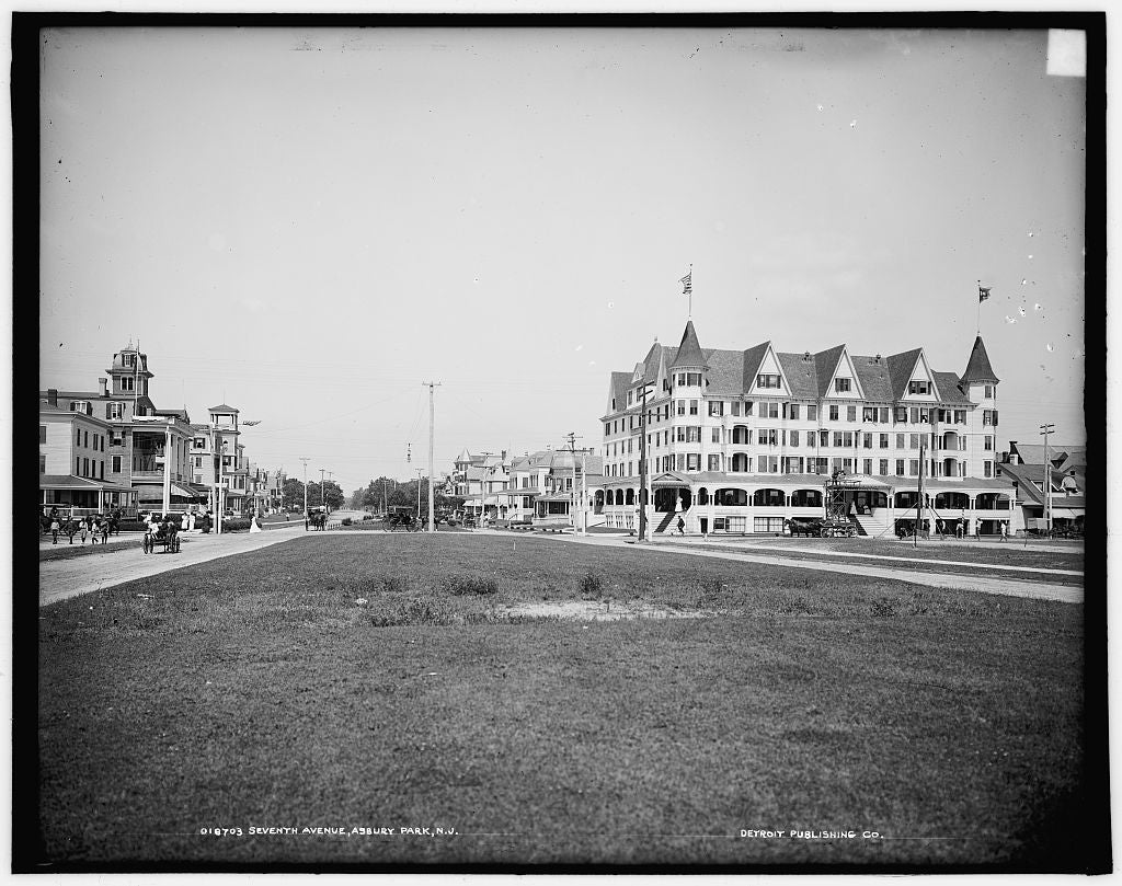16 x 20 Gallery Wrapped Frame Art Canvas Print of Seventh Avenue Asbury Park N J  1905 Detriot Publishing co.  49a