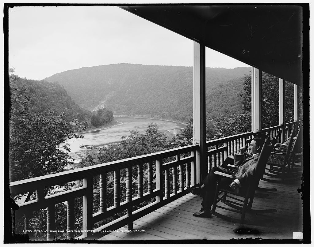 16 x 20 Gallery Wrapped Frame Art Canvas Print of River and mountains from the Kittatinny House Delaware Water Gap Pa  1905 Detriot Publishing co.  80a