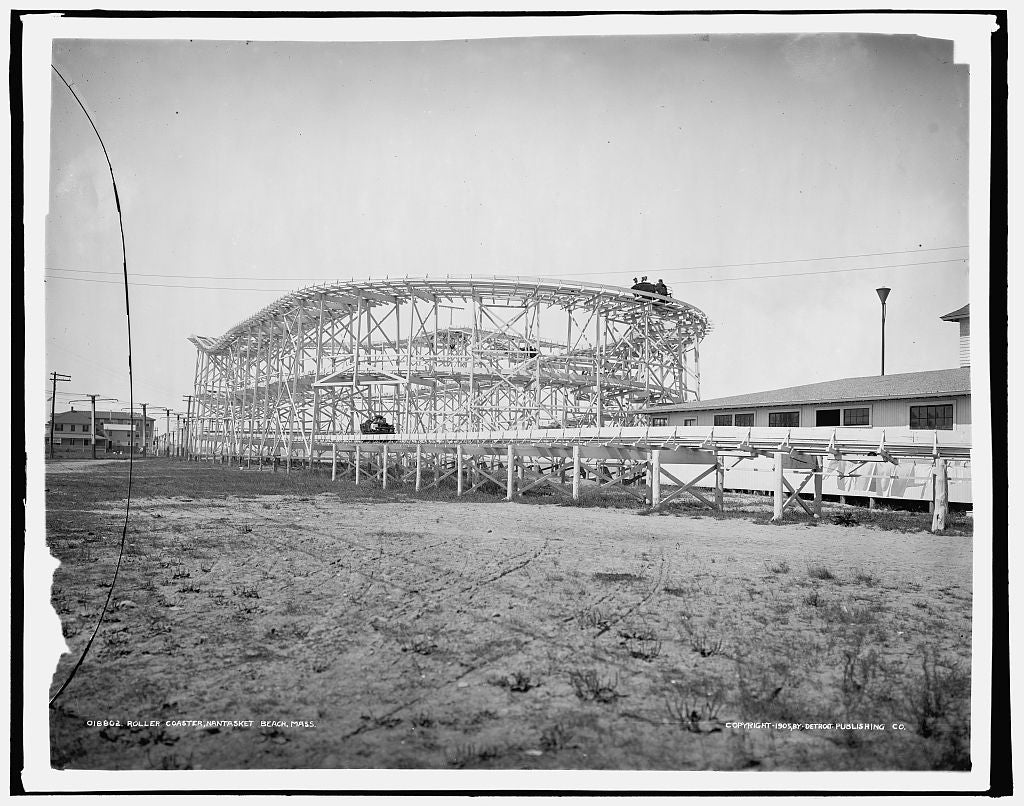 16 x 20 Gallery Wrapped Frame Art Canvas Print of Roller coaster Paragon Park Nantasket Beach Mass  1905 Detriot Publishing co.  76a