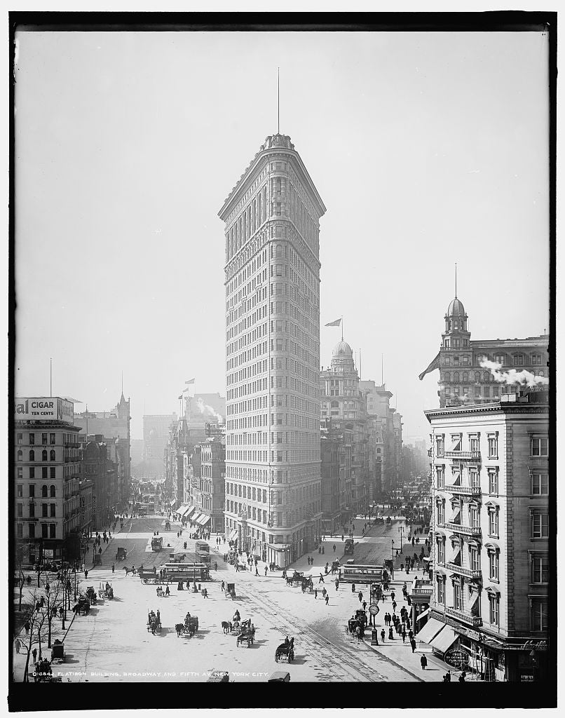 16 x 20 Gallery Wrapped Frame Art Canvas Print of Flatiron Building Broadway and Fifth Av New York City 1905 Detriot Publishing co.  06a