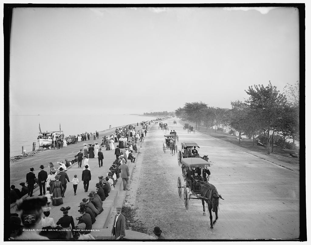 16 x 20 Gallery Wrapped Frame Art Canvas Print of Shore Drive Lincoln Park Chicago Ill  1905 Detriot Publishing co.  07a