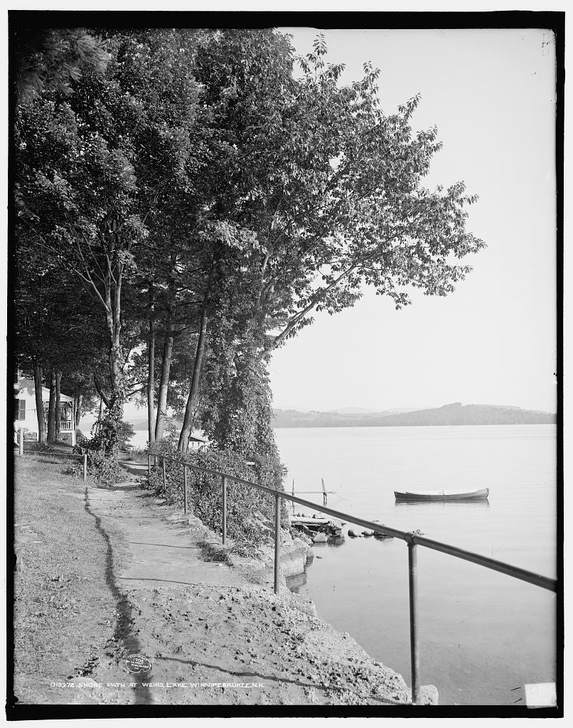 16 x 20 Gallery Wrapped Frame Art Canvas Print of Shore path at Weirs Lake Winnipesaukee N H  1906 Detriot Publishing co.  82a