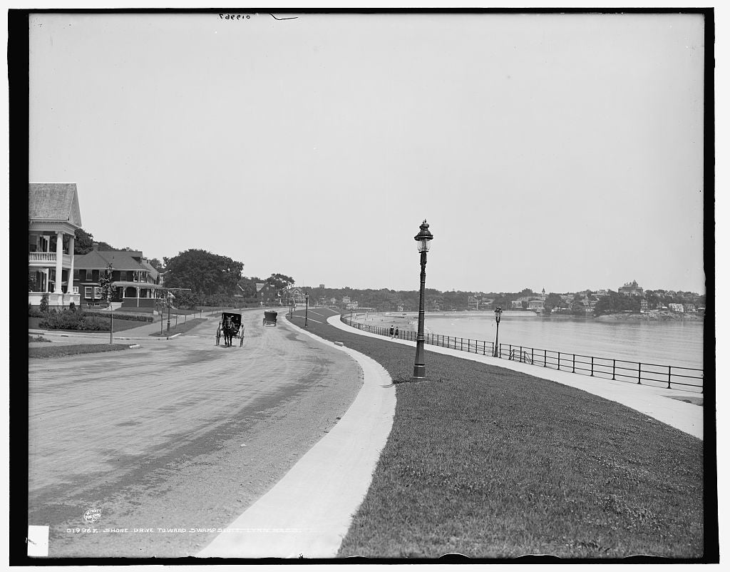 16 x 20 Gallery Wrapped Frame Art Canvas Print of Shore Drive toward Swampscott Lynn Mass  1907 Detriot Publishing co.  86a
