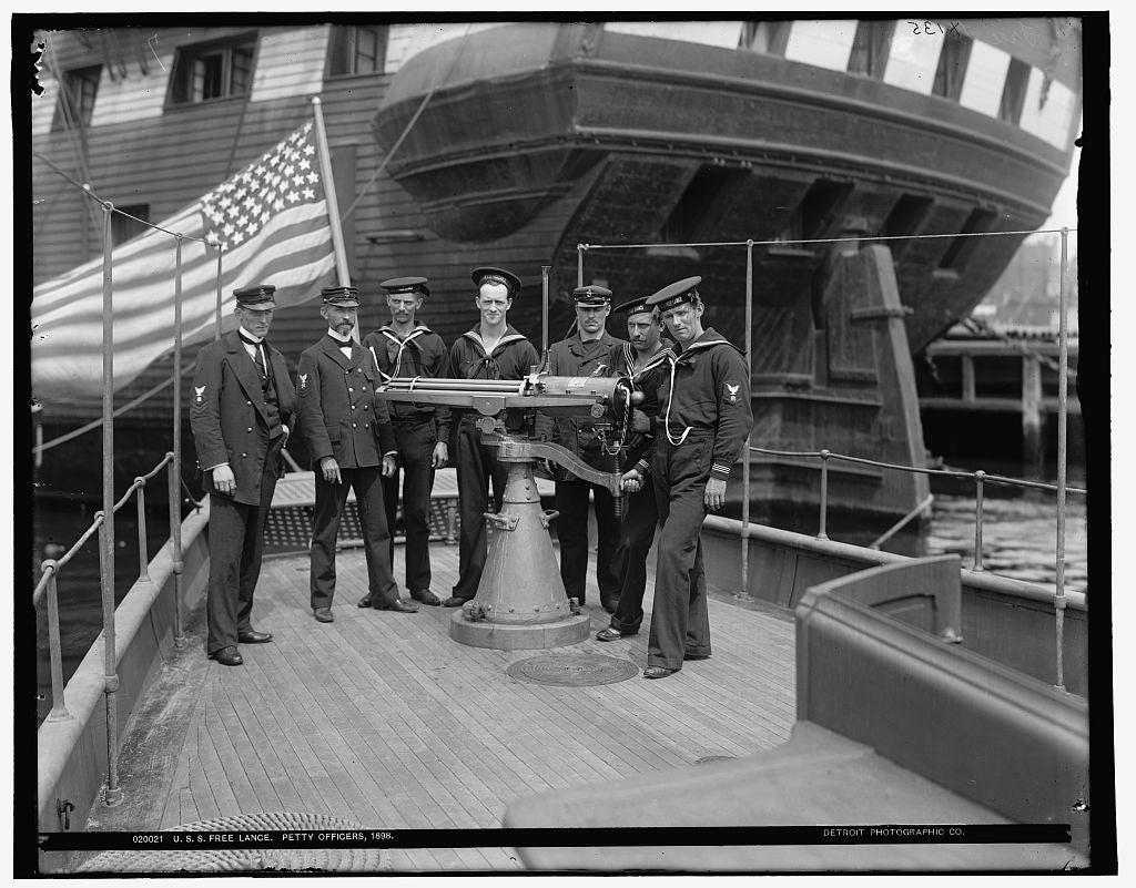 16 x 20 Gallery Wrapped Frame Art Canvas Print of U S S Free Lance petty officers 1898 1898 Detriot Publishing co.  29a