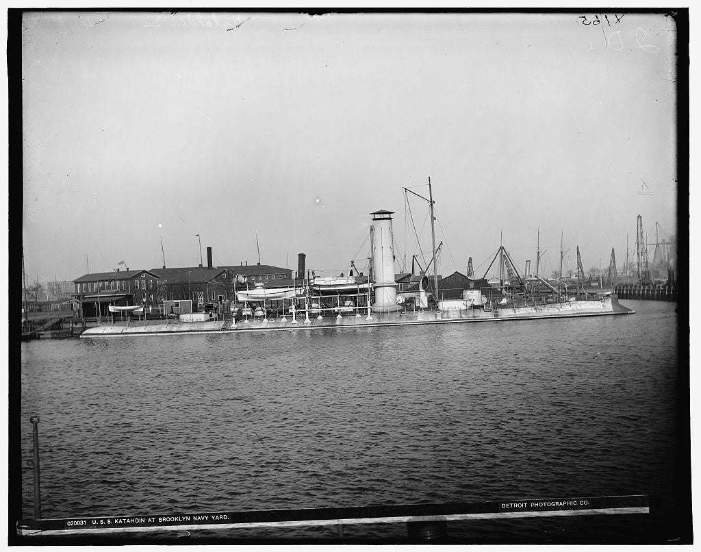 16 x 20 Gallery Wrapped Frame Art Canvas Print of U S S Katahdin at Brooklyn Navy Yard 1899 Detriot Publishing co.  85a