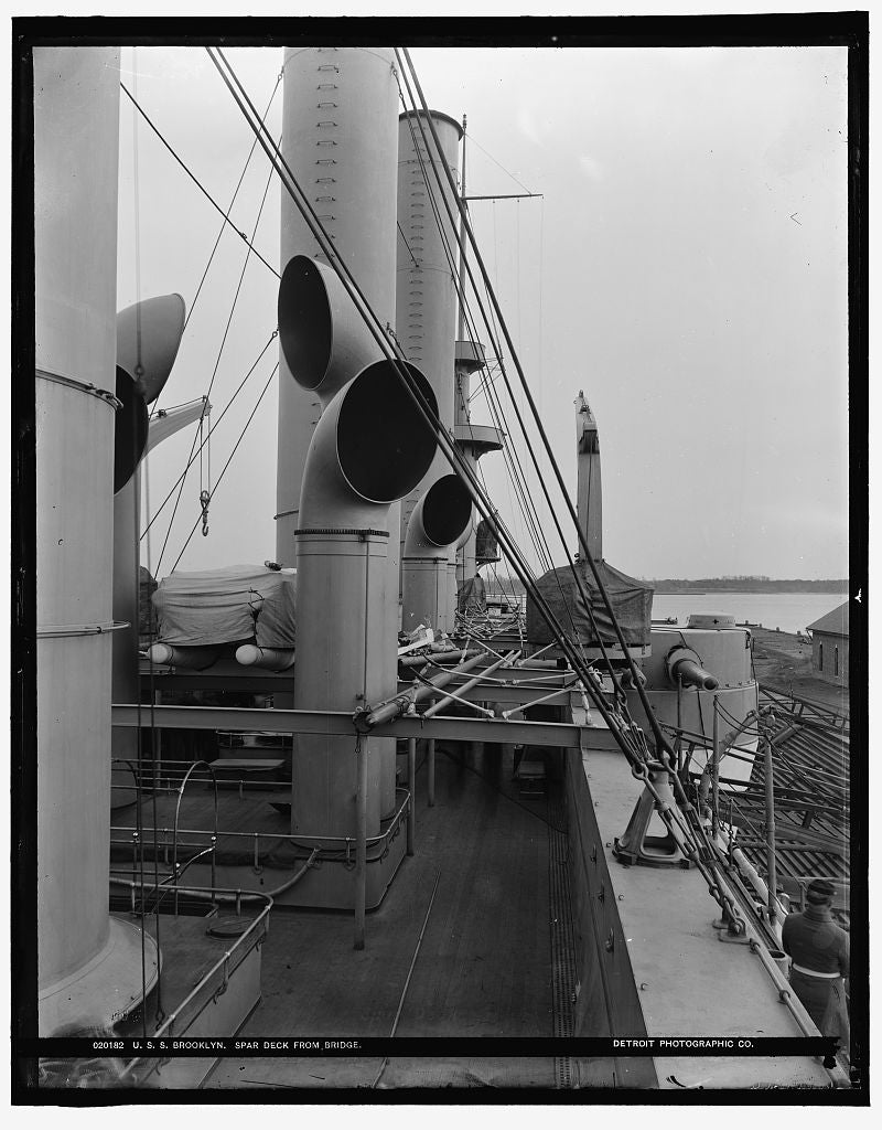 16 x 20 Gallery Wrapped Frame Art Canvas Print of U S S Brooklyn spar deck from bridge 1899 Detriot Publishing co.  58a