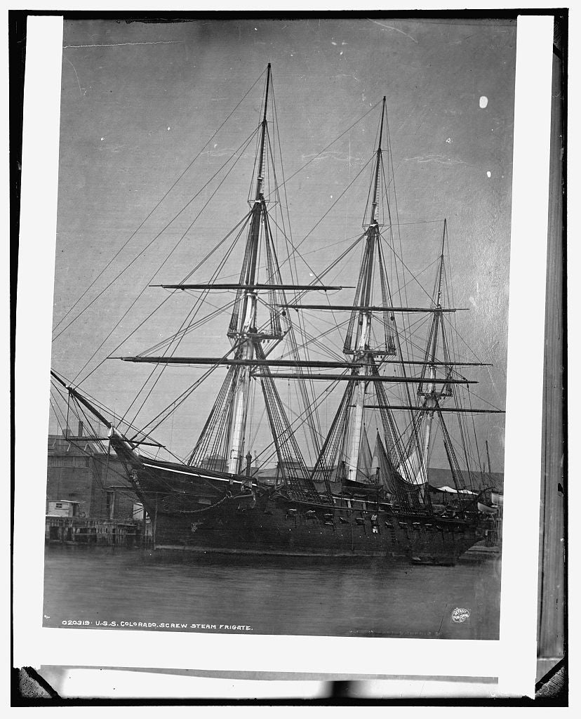 16 x 20 Gallery Wrapped Frame Art Canvas Print of U S S Colorado screw steam frigate 1894 Detriot Publishing co.  90a