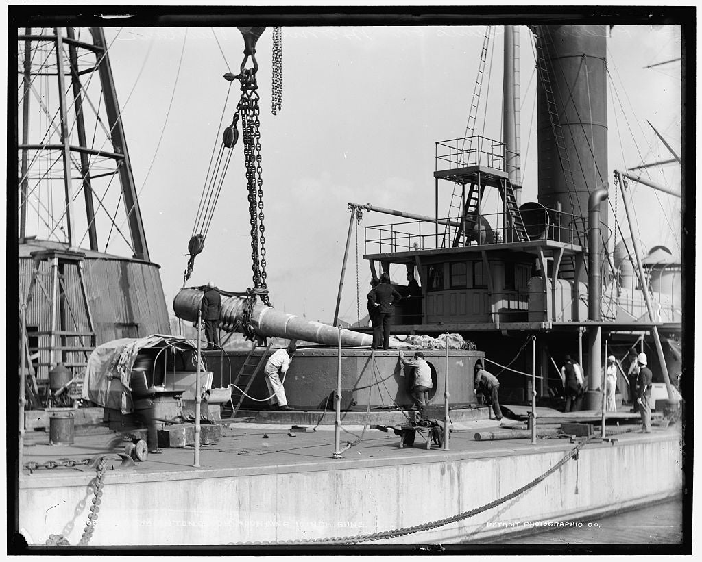 16 x 20 Gallery Wrapped Frame Art Canvas Print of U S S Miantonomoh mounting 10-inch guns 1896 Detriot Publishing co.  88a