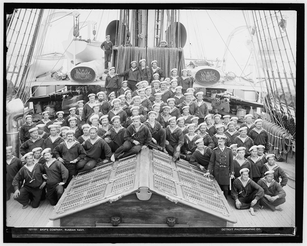 16 x 20 Gallery Wrapped Frame Art Canvas Print of Ship's company Russian navy 1893 Detriot Publishing co.  74a